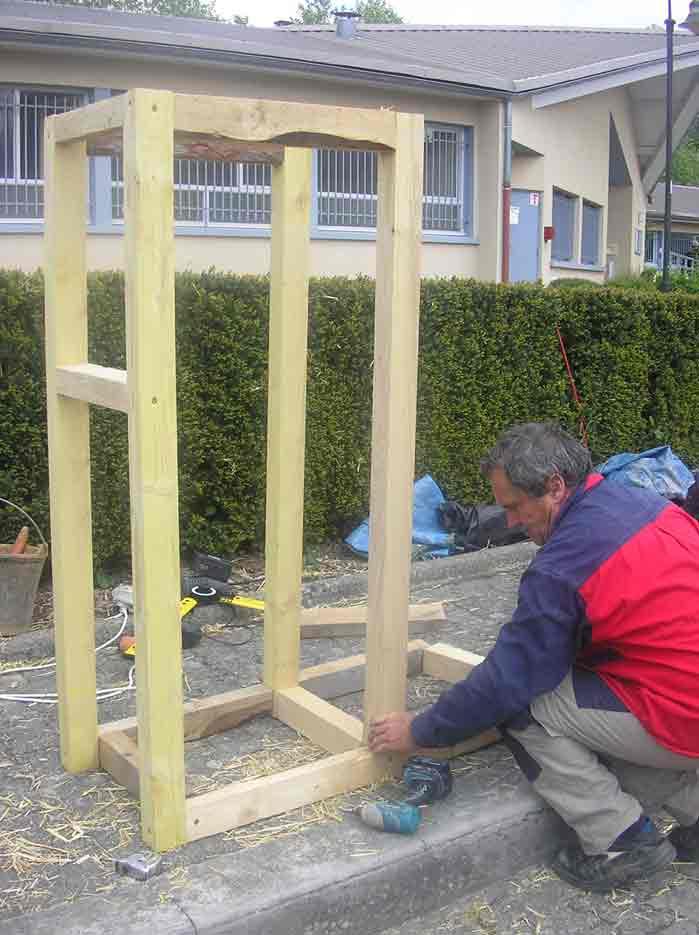 D monstration de construction d un mur porteur paille bois for Construction mur porteur