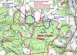 Plan du CP Chambaran avec Zones d'abattage