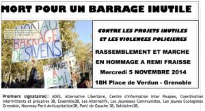 invite mail manif Grenoble 5 novembre Remi