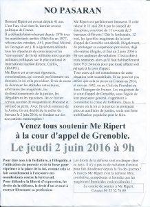 Soutien à Maître RIPERT Grenoble